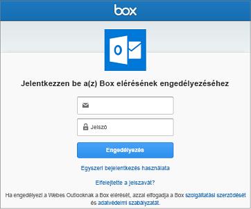 A tárhelyek összekapcsolásakor meg kell adnia a felhasználónevét és a jelszavát, hogy az Outlook hozzáférhessen a fájljaihoz