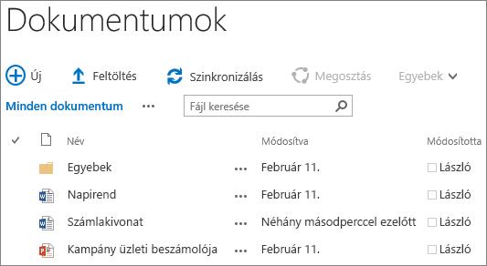 Képernyőkép egy dokumentumtárról a SharePoint Server 2016-ban