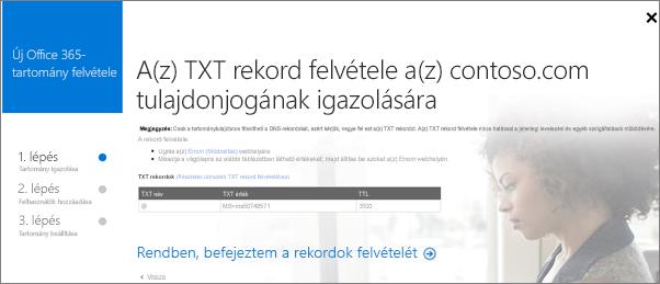 A tartomány használati jogát igazoló TXT rekord létrehozása