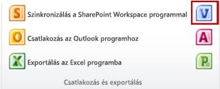 A Visio-diagram létrehozása gomb a Lista lap Csatlakozás és exportálás csoportjában