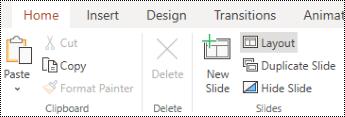 Az Elrendezés gomb a Kezdőlap menüszalagján az PowerPoint menüben.