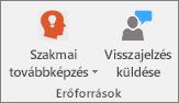 Az Osztályjegyzetfüzet lap Források csoportja.