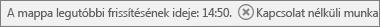 Az Outlook állapotsorán az látható, hogy az Outlook nem kapcsolódik a levelezési kiszolgálóhoz