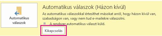 Az Outlook Automatikus üzenetek kikapcsolása párbeszédpanel képernyőképe