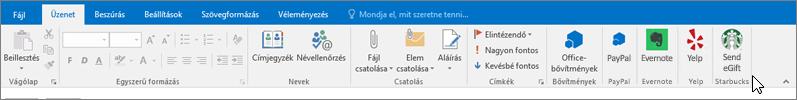 Képernyőkép az Outlook menüszalagjáról a kiemelt Üzenet lappal, ahol a kurzor a bal oldal legszélén a bővítményekre mutat. Ebben a példában az Office-bővítmények, a PayPal, az Evernote, a Yelp és a Starbucks szerepel.