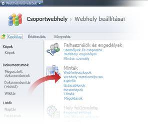 A Webhely tartalomtípusai hivatkozás kiválasztása a Webhely beállításai ablakban