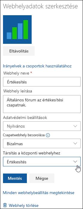 SharePoint-webhely társítása központi webhellyel