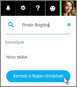 Kattintson a Keresés a Skype-címtárban parancsra