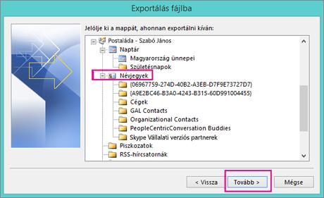 Jelölje ki az exportálandó névjegymappát.