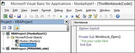 Kattintson a Visual Basic Editor (VBE) Ablakát a ThisWorkbook modul