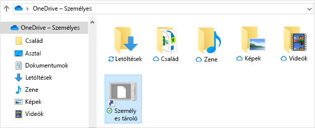 A OneDrive személyes tároló billentyűparancsa
