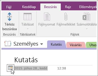 Képernyőkép arról, hogy miként módosíthatja egy lap dátumbélyegzőjét a OneNote 2016-ban