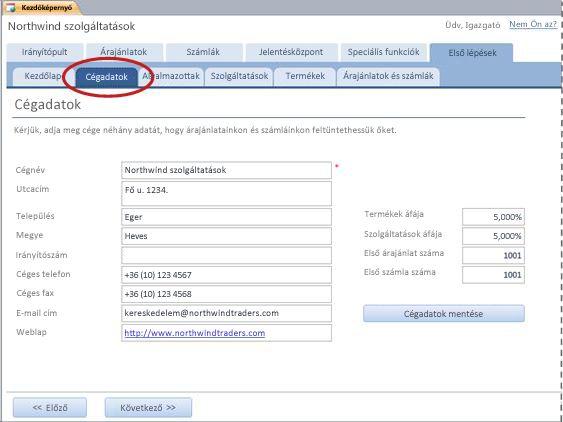 A Szolgáltatások adatbázissablon Cégadatok lapja