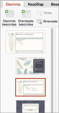 A Miniatűrök ablaktáblán megjelennek az elrendezések a diaminta szerkesztésekor