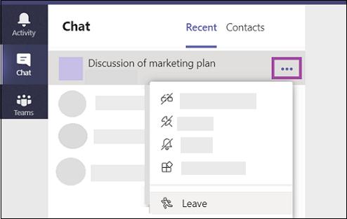 Válassza a további beállítások > a csoportokba való kilépés lehetőséget.