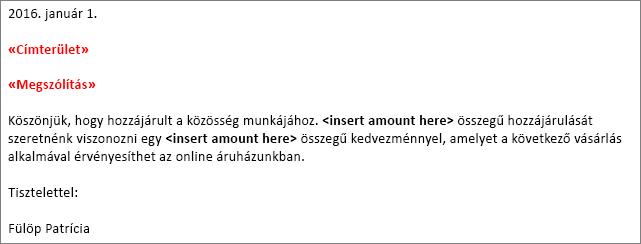 """A """"címterület"""" és a """"megszólítás"""" mező egy Wordben létrehozott mintakörlevélen."""