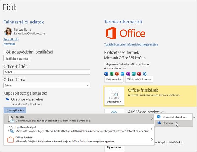 """Az Office alkalmazások Fiók munkaablaka Kapcsolt szolgáltatások részében a OneDrive menüponton belül a """"Szolgáltatás hozzáadása"""" lehetőség kijelölve"""