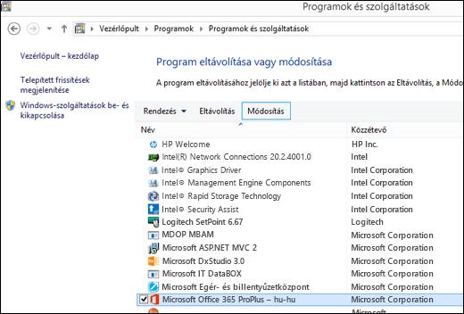 Kattintson a Módosítás gombra a Programok eltávolítása eszközben a Microsoft Office javításának kezdeményezéséhez
