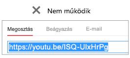 """Ha a beágyazási kódja """"http"""" előtaggal kezdődik, a videó beágyazása nem lesz sikeres."""