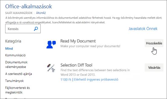 Képernyőkép: az alkalmazások az Office lapon a választhatja ki a tár vagy a Word-alkalmazás keresése.