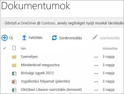 a OneDrive Vállalati verzió dokumentumainak megtekintése