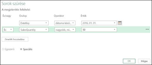 Az Excel Power BI továbbfejlesztett Sorok szűrése párbeszédpanelje a Lekérdezésszerkesztőben