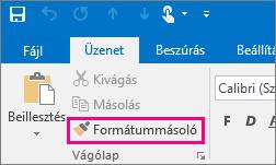 A Formátummásoló gomb egy új üzenetben az Outlookban