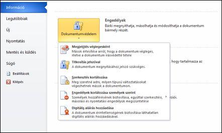 A Dokumentumvédelem gomb a hozzá tartozó beállításokkal