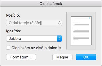 Az Oldalszámozás ablakban adja meg az oldalszámok helyét és pozícióját.