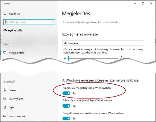 A könnyű kezelés megjelenítési menüje, amelyen ki van emelve az animációk megjelenítése a Windowsban beállítás.