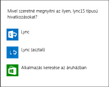 Képernyőkép: Lync-értesítés a kívánt program kiválasztására