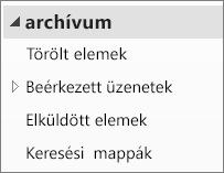 Bontsa ki az archív fájlt a navigációs ablaktáblában az almappák megjelenítéséhez.