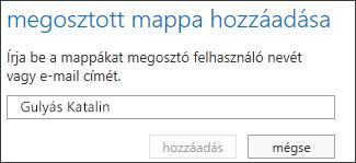 Az Outlook Web App Megosztott mappa hozzáadása párbeszédpanelje