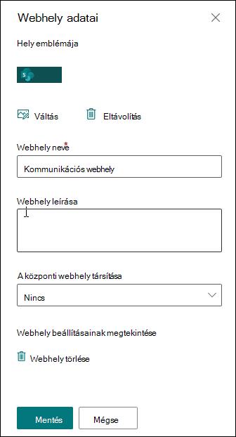 A SharePoint Webhely adatai panelje