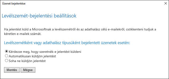 Képernyőkép a levélszemét-vagy adathalászati kísérletekkel jelzett üzenetek beállításairól