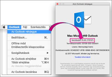 A saját verzió megállapításához válassza az Outlook Az Outlook névjegye lehetőséget