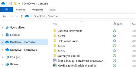 Képernyőkép: a OneDrive Vállalati verzióban tárolt fájlok a Fájlkezelőben