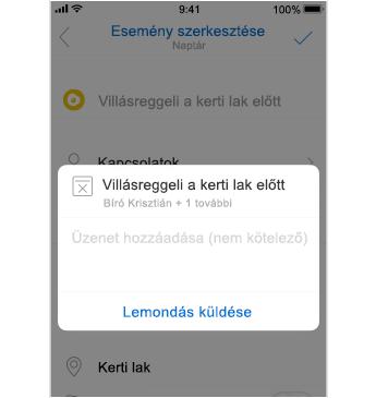 Lemondási képernyő az üzenet hozzáadására szolgáló hellyel