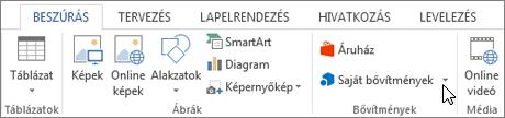 Képernyőkép: a egy meg az áruház képernyőt mutató kurzor a Word menüszalagjának Beszúrás lapján. Kattintson a tár nyissa meg az Office áruházat, és keresse meg a bővítmények szót.