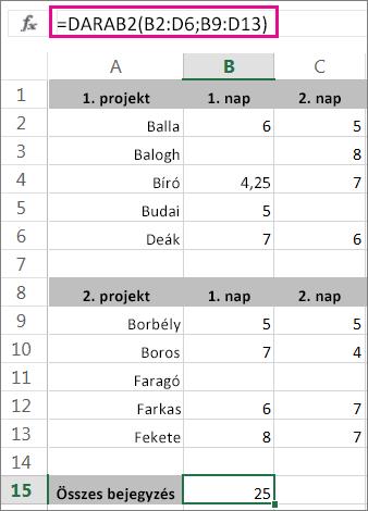 A DARAB2 függvény 2 kijelölt tartománnyal