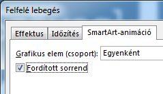 A SmartArt-animáció lap egy része, rajta a Fordított sorrend jelölőnégyzet