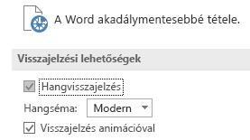 A Word Könnyű kezelés beállításainak egy része