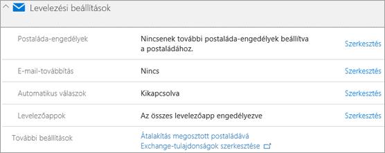Képernyőkép: Az Office 365 levelezési beállítások