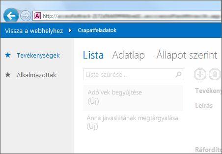 Access-alkalmazás bal oldalt a táblák felsorolásával, felül pedig a nézetválasztóval.