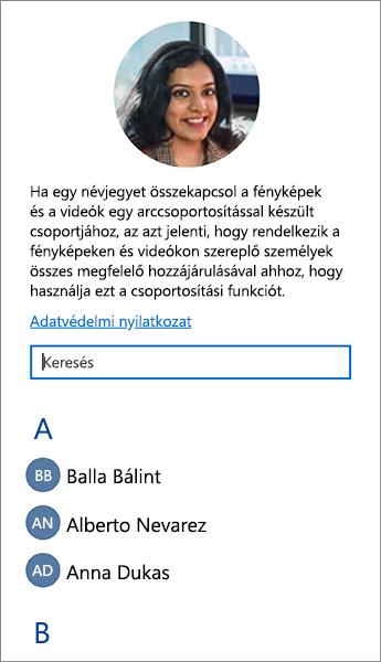 Képernyőkép a névjegyek arccsoportokkal való összekapcsolásához használható listáról.