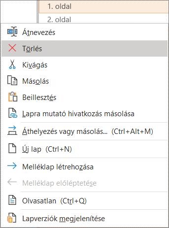 Lap törlése a Windows OneNote-ban