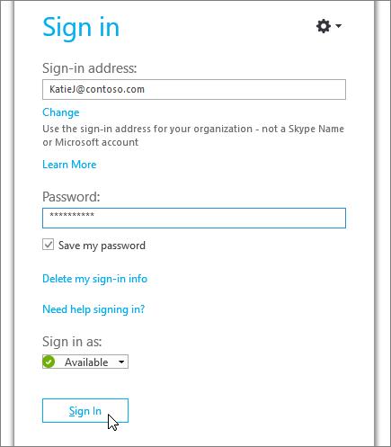 Képernyőkép a Skype vállalati verzió bejelentkezési képernyőjén a jelszó megadására szolgáló bemutatóról.