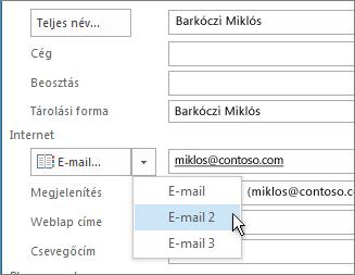 További e-mail-cím felvétele egy névjegybe
