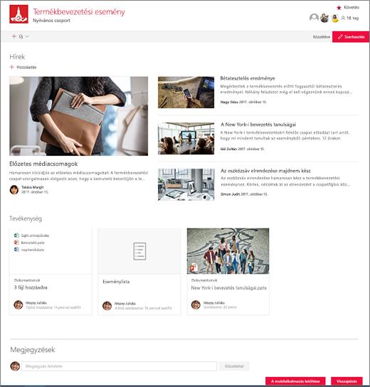 SharePoint Teams-webhely kezdőlapja