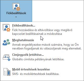 Az Outlookban a fiókbeállítások kiválasztásakor rendelkezésre álló lehetőségek